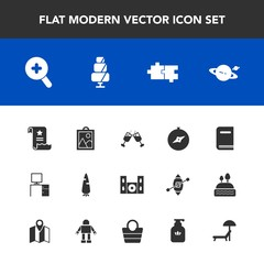 Modern, simple vector icon set with library, education, carrot, document, picture, dessert, home, saturn, doughnut, planet, desk, sunbed, cinema, hygiene, sweet, map, glass, compass, work, raw icons