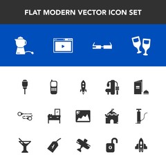 Modern, simple vector icon set with technology, online, smart, space, light, cabinet, launch, business, gym, sport, drink, communication, chain, wine, alcohol, hot, modern, city, breakfast, book icons