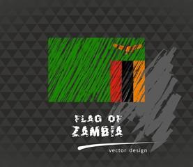 Zambia flag, vector sketch hand drawn illustration on dark grunge background