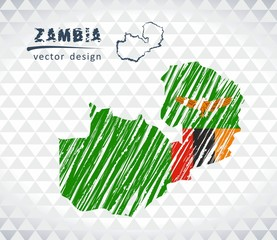 Map of Zambia with hand drawn sketch pen map inside. Vector illustration