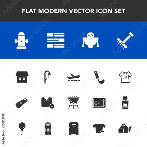Modern, simple vector icon set with house, cooking, bath