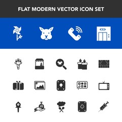Modern, simple vector icon set with lift, supermarket, blossom, flower, fire, market, candle, alcohol, shop, elevator, glass, liquid, present, clothes, woman, floral, photo, drink, picture, game icons