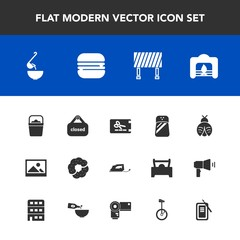 Modern, simple vector icon set with picture, coupon, road, background, price, sign, meal, fire, spoon, work, pepper, water, fireplace, discount, food, cake, fly, iron, store, soup, christmas icons