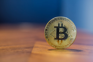 Cryptocurrency electronic sign Bitcoin with background copy space.
