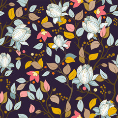 Foto op Aluminium Botanisch Colorful floral pattern. Vector wallpaper with big illustration flowers. Hand drawn plants, magnolia