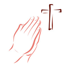 Man prays to God, cross and hands