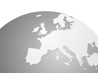 Europe vector map on world globe with links