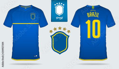 set of soccer jersey or football kit template design for brazil