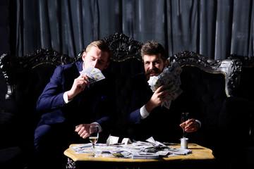 Financial freedom achievement concept. Happy young men,