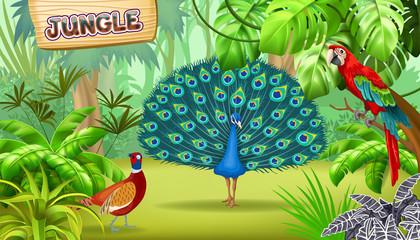 Poster tropical jungle and birds. Game landscape scene.  Vector illustration.