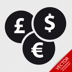 Different Currencies Flat Icon - Vector Illustration - Isolated On Transparent Background