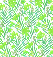 Jungle leaves seamless vector pattern