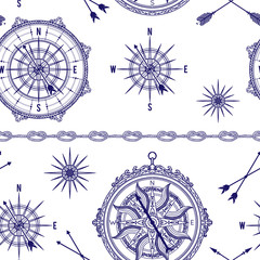 Seamless pattern with vintage compass, wind rose and rope knot. Nautical background. Vector illustration