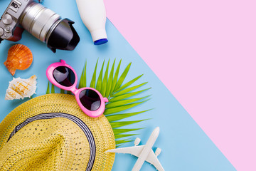 summer set top view,outfit and accessories of traveler on blue  background with copy space, Travel concept.Overhead view of Traveler's accessories, Essential vacation items, Travel concept on blue