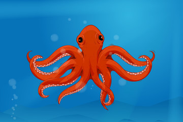 Red octopus in blue water. Colored drawing