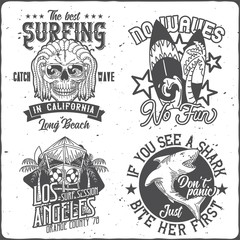Surfing theme logo badges with hand drawn illustrations