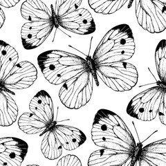 Seamless vector pattern with cabbage butterflies.