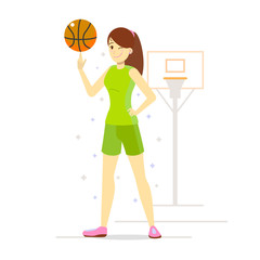 Girl Playing Basketball in Cartoon Style