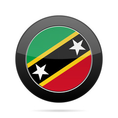 Flag of Saint Kitts and Nevis. Black round button.