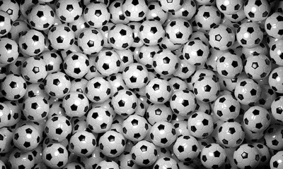 Soccer balls top view 3D rendering