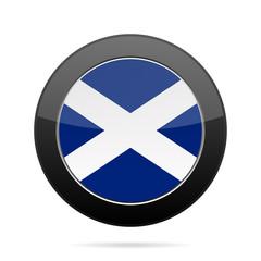 Flag of Scotland. Shiny black round button.