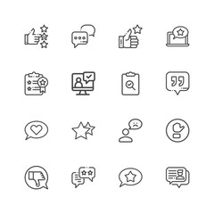 Premium Set of Testimonials Related Vector Line Icons. Contains such Icons as Customer Relationship Management, Feedback, Review, Emotion symbols and more.