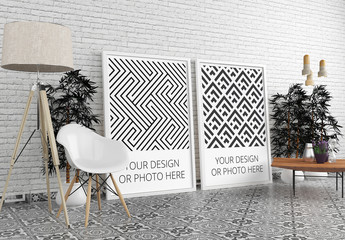 2 Vertical Posters in Modern Interior Mockup