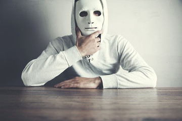 man face mask on dark background