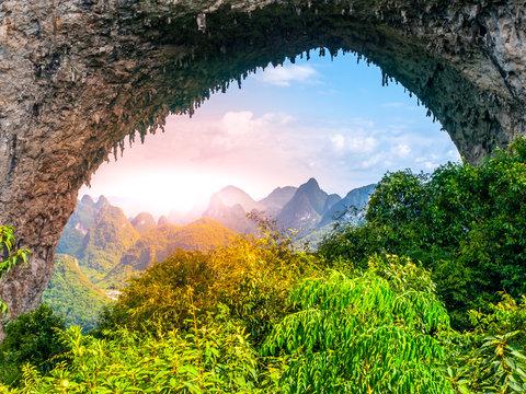 Moon Hill near Yangshuo in Guangxi Province, China.