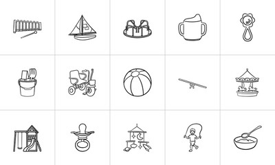 Kids toys and playing accessories hand drawn outline doodle icon set for print, web, mobile and infographics. Infant newborn baby theme vector sketch illustration set isolated on white background.