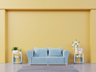 Modern living room interior yellow wall mockup with blue sofa, shelf, flower, and book on empty background. 3D rendering.