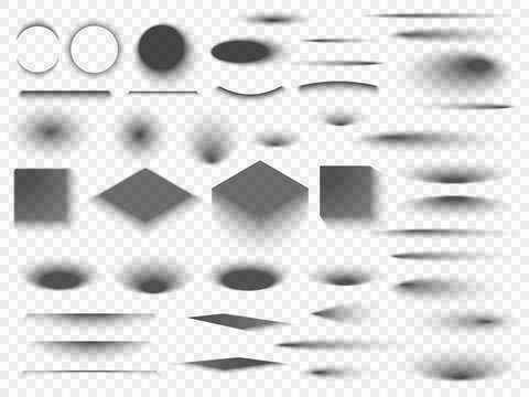 Round and square isolated floor transparent shadows. Dark oval shadow and circle shades vector