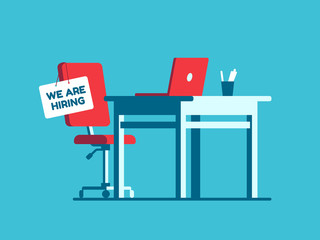 We are hiring employment sign on vacant workplace. New company executives vacancy. Empty office armchair for executive vector concept