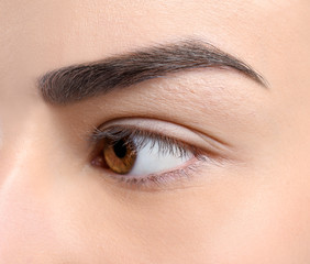 Beautiful woman with perfect eyebrow, closeup