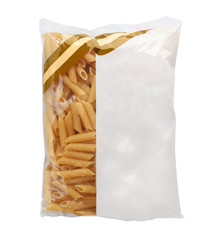 Uncooked penne pasta in plastic bag on white background, top view