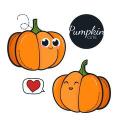 Cute pumpkin characters. Vector set