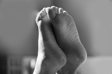 Feet with Creative Lighting Black and White