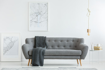 Grey lounge with blanket