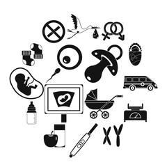 Pregnancy symbols icons set, simple style