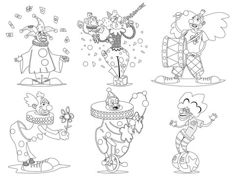 Coloring book page. Funny cartoon circus clown in traditional costume. Vector set illustration isolated on a white background.