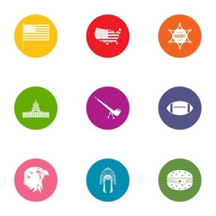 American way of life icons set, flat style