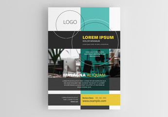 Corporate Flyer Layout with Overlapping Elements