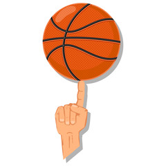 Basketball ball spinning on the finger. Vector cartoon illustration isolated on a white background.