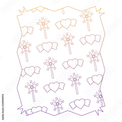 abstract frame with magic wands and hearts pattern over white ...