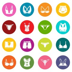 Underwear types icons set colorful circles vector