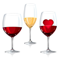 Vector illustration wine glass, with red and white wine