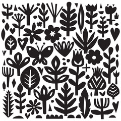 Paper floral elements. Cutout florals. Vector plant silhouettes. Scandinavian style. Botanical collection.