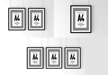 3 Black Frame Poster Mockup Set