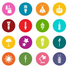 Light source icons set colorful circles vector