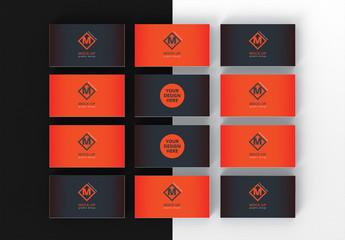 12 Business Card Mockup Set